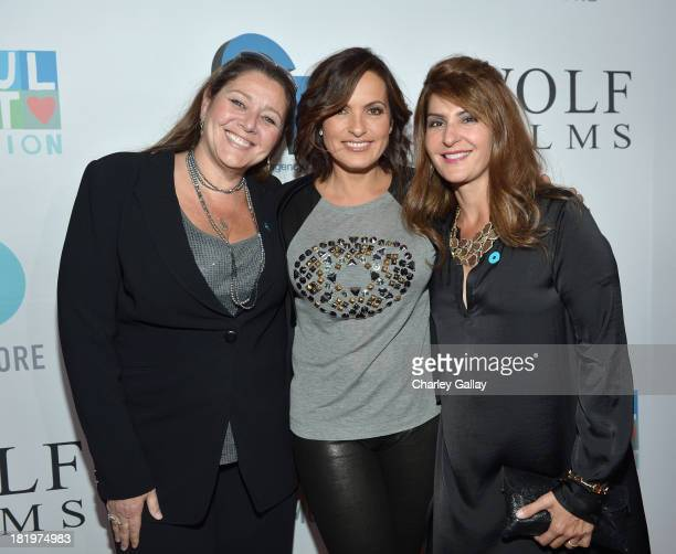 Actors Camryn Manheim Mariska Hargitay and Nia Vardalos attend The Joyful Heart Foundation Presents JoyROCKS to celebrate the NO MORE PSA Launch at...