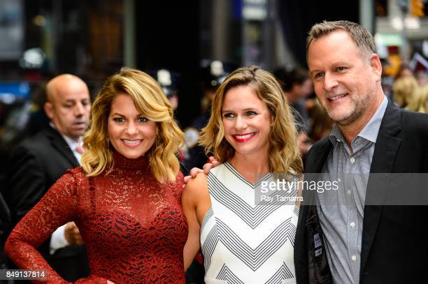 Actors Candace Cameron Bure Andrea Barber and Dave Coulier leave the 'Good Morning America' taping at the ABC Times Square Studios on September 18...