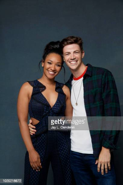 Actors Candice Patton and Grant Gustin from 'The Flash' are photographed for Los Angeles Times on July 21 2018 in San Diego California PUBLISHED...