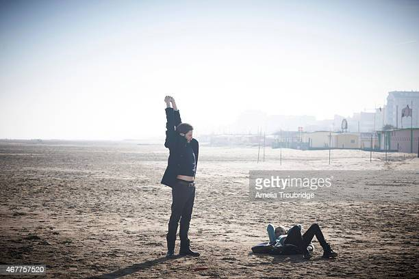 Actors Cara Delevigne and Daniel Bruhl on set during the making of Face of an Angel directed by Michael Winterbottom Photographed on November 23 2014...