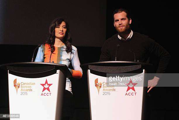 Actors Cara Gee and Jared Keeso attend the 2015 Canadian Screen Awards Press Conference at TIFF Bell Lightbox on January 13 2015 in Toronto Canada