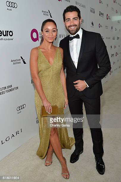 Actors Cara Santana and Jesse Metcalfe attend the 24th Annual Elton John AIDS Foundation's Oscar Viewing Party on February 28 2016 in West Hollywood...
