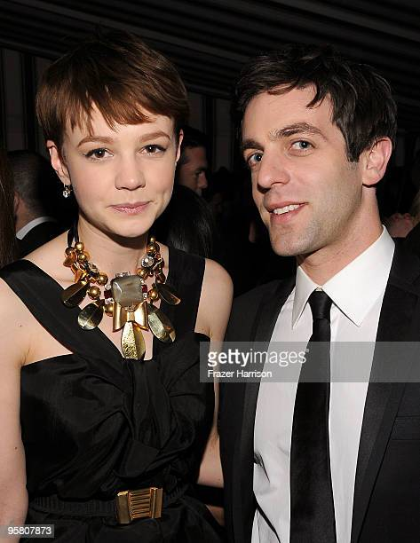 Actors Carey Mulligan and BJ Novak at the Golden Globes party hosted by T Magazine and Dom Perignon at Chateau Marmont on January 15 2010 in Los...