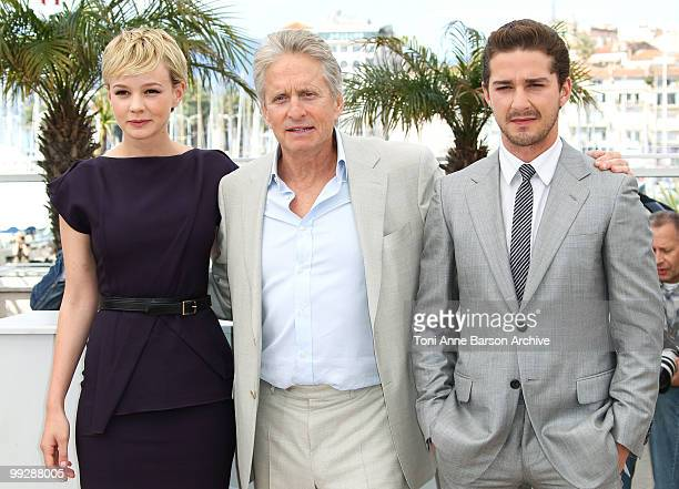 Actors Carey Mulligan, Michael Douglas and Shia LaBeouf attend the 'Wall Street: Money Never Sleeps' Photo Call held at the Palais des Festivals...