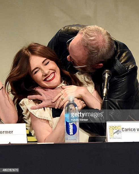Actors Carice van Houten and Liam Cunningham speak onstage at the 'Game of Thrones' panel during ComicCon International 2015 at the San Diego...