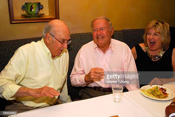 Actors Carl Reiner and Dick Van Patten share a conversation as Dick's wife Patti looks on at the Super Bowl Bash at Spago at Wolfgang Puck's Spago...