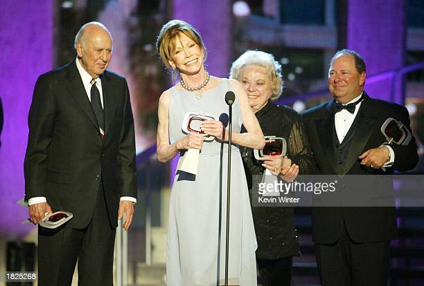 Actors Carl Reiner Mary Tyler Moore Rose Marie and Larry Mathews from The Dick Van Dyke Show accept their Legend Award during the TV Land Awards 2003...