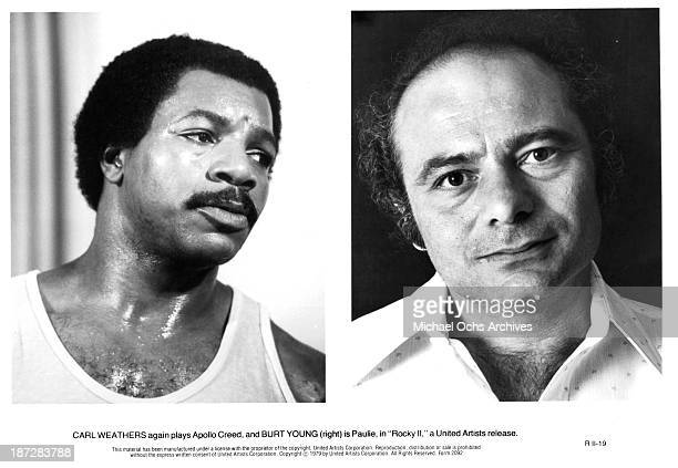 Actors Carl Weathers and Burt Young on set of the United Artist movie 'Rocky II' in 1979