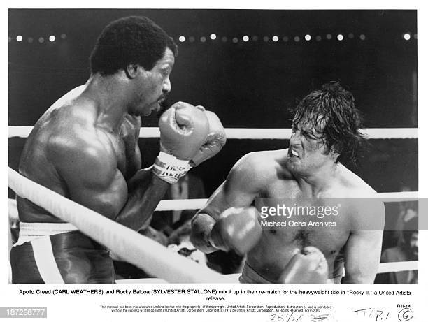 Actors Carl Weathers and Sylvester Stallone on set of the United Artist movie 'Rocky II' in 1979