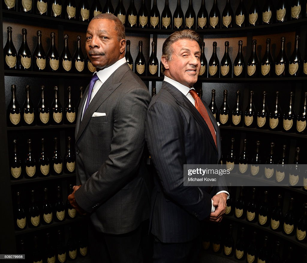 Actors Carl Weathers (L) and Sylvester Stallone visit the Dom Perignon Lounge at The Santa Barbara International Film Festival on February 9, 2016 in Santa Barbara, California.