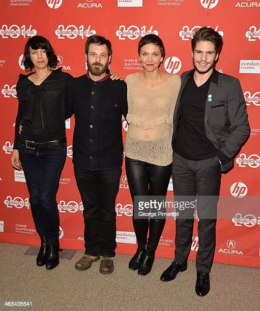 Actors Carla Azar Scoot McNairy Maggie Gyllenhaal and Francois Civil attend the Frank premiere at Eccles Center Theatre during the 2014 Sundance Film...