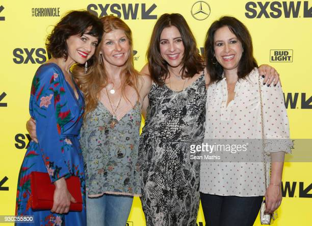 Actors Carla Gugino Connie Britton Adriana Alberghetti and Nadia Frankel attend the premiere of 'Elizabeth Harvest' during at Alamo Lamar on March 10...