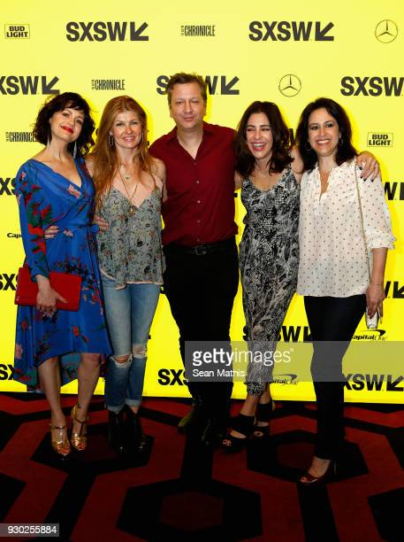 Actors Carla Gugino Connie Britton writer/director Sebastian Gutierrez Adriana Alberghetti and Nadia Frankel attend the premiere of 'Elizabeth...