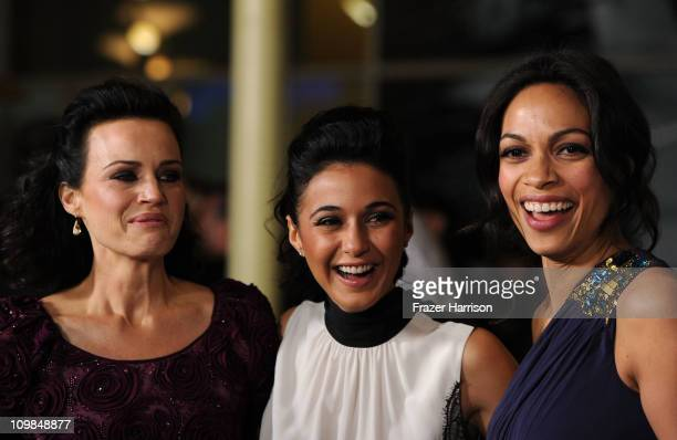 "Actors Carla Gugino, Emmanuelle Chriqui and Rosario Dawson arrives premiere Of Shangri-La Entertainment's ""Girl Walks Into A Bar"" held at the..."