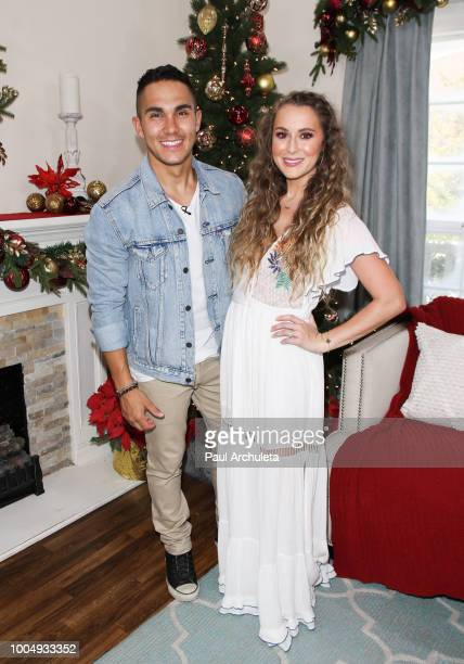 Actors Carlos PenaVega and Alexa PenaVega visit Hallmark's Home Family celebrating 'Christmas In July' at Universal Studios Hollywood on July 24 2018...