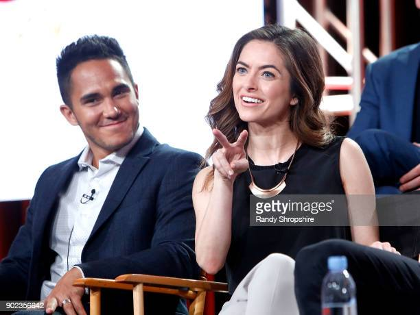 Actors Carlos PenaVega and Brooke Lyons of the television show Life Sentence speak on stage during the CW portion of the 2018 Winter Television...