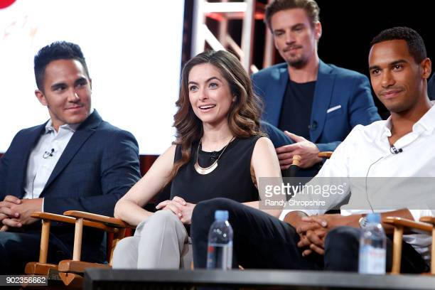 Actors Carlos PenaVega Brooke Lyons Riley Smith and Elliot Knight of the television show Life Sentence speak on stage during the CW portion of the...