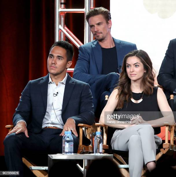 Actors Carlos PenaVega Riley Smith and Brooke Lyons of the television show Life Sentence speak on stage during the CW portion of the 2018 Winter...