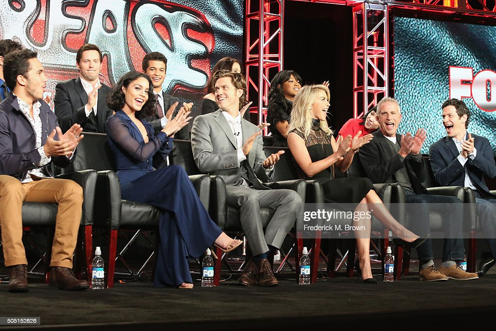 Actors Carlos Penavega, Vanessa Hudgens, Aaron Tveit, Julianne Hough, Executive Producer Marc Platt, Director Thomas Kail, (L-R Back Row) actors David Del Rio, Andrew Call, Jordan Fisher, Kether Donahue, Keke Palmer and Carly Rae Jepson speak onstage during the 'Grease Live!' panel discussion at the FOX portion of the 2015 Winter TCA Tour at the Langham Huntington Hotel on January 15, 2016 in Pasadena, California
