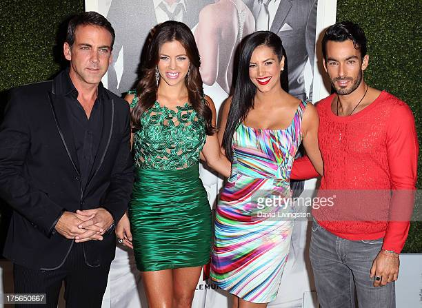 Actors Carlos Ponce Ximena Duque Gaby Espino and Aaron Diaz attend the Telemundo press annoucement for 'Santa Diabla' at Regent Beverly Wilshire...