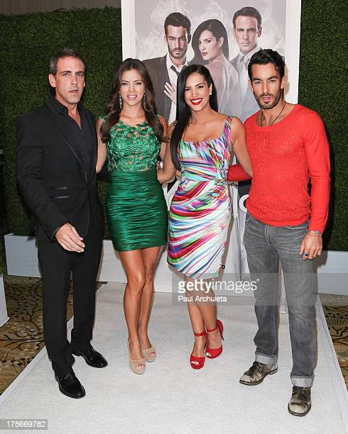 Actors Carlos Ponce Ximena Duque Gaby Espino and Aaron Diaz attend the Telemundo press annoucement for 'Santa Diabla' at the Regent Beverly Wilshire...