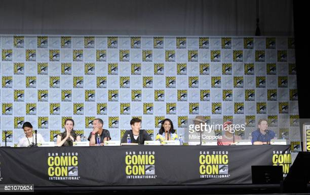 Actors Carlos Valdes Danielle Panabaker Tom Cavanagh Grant Gustin Candice Patton Jesse L Martin Keiynan Lonsdale and Todd Helbing attend the The...