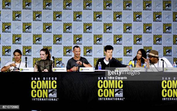 Actors Carlos Valdes Danielle Panabaker Tom Cavanagh Grant Gustin Candice Patton and Jesse L Martin attend the The Flash Video Presentation And QA...