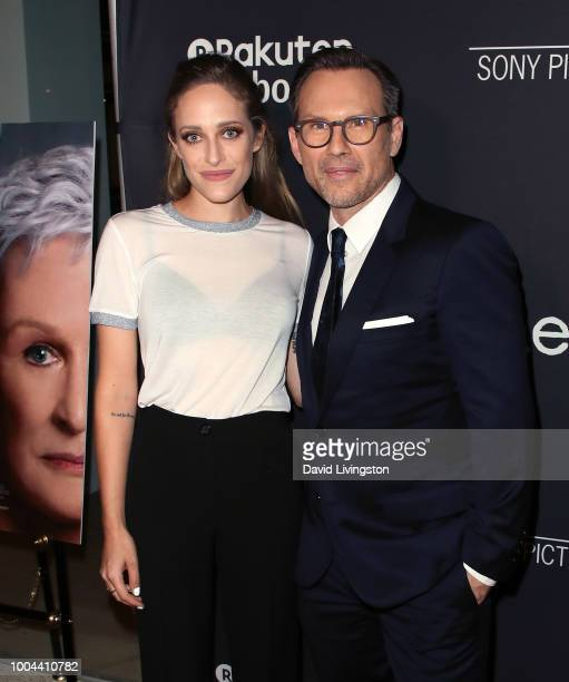 Actors Carly Chaikin and Christian Slater attend Sony Pictures Classics' Los Angeles premiere of The Wife at the Pacific Design Center on July 23...