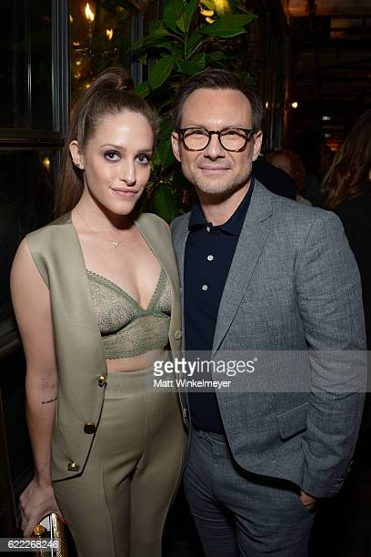 Actors Carly Chaikin and Christian Slater attend the Hollywood Foreign Press Association and InStyle celebrate the 2017 Golden Globe Award Season at...
