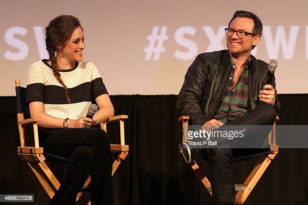 Actors Carly Chaikin and Christian Slater speak onstage at the premiere of Mr Robot during the 2015 SXSW Music Film Interactive Festival at Austin...