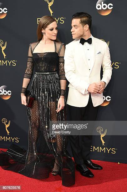 Actors Carly Chaikin and Rami Malek attend the 68th Annual Primetime Emmy Awards at Microsoft Theater on September 18, 2016 in Los Angeles,...