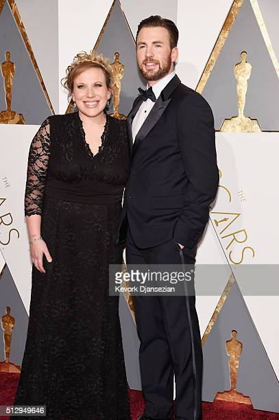 Actors Carly Evans and Chris Evans attend the 88th Annual Academy Awards at Hollywood Highland Center on February 28 2016 in Hollywood California