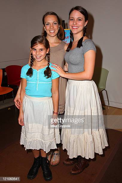Actors Carly Rose Sonenclar Kara Lindsay and Alessa Neeck attend a rehearsal for the National Tour of 'Little House on the Prairie The Musical' at...