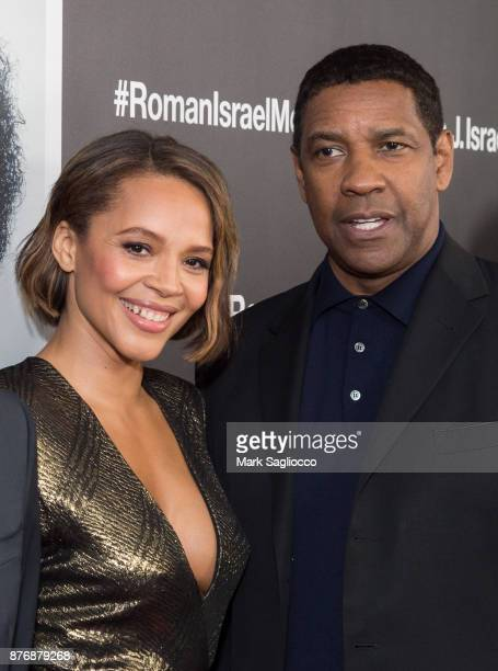 Actors Carmen Ejogo and Denzel Washington attend the Roman J Israel Esquire New York Premiere at Henry R Luce Auditorium at Brookfield Place on...