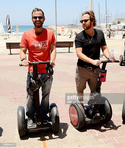 Actors Carmine Giovinazzo and AJ Buckley take a Segway tour of Tel Aviv on May 31 2012 in Tel Aviv Israel