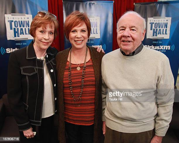 Actors Carol Burnett Vicki Lawrence and Tim Conway attend 'SiriusXM's Town Hall with Carol Burnett' to promote the DVD release of 'The Carol Burnett...