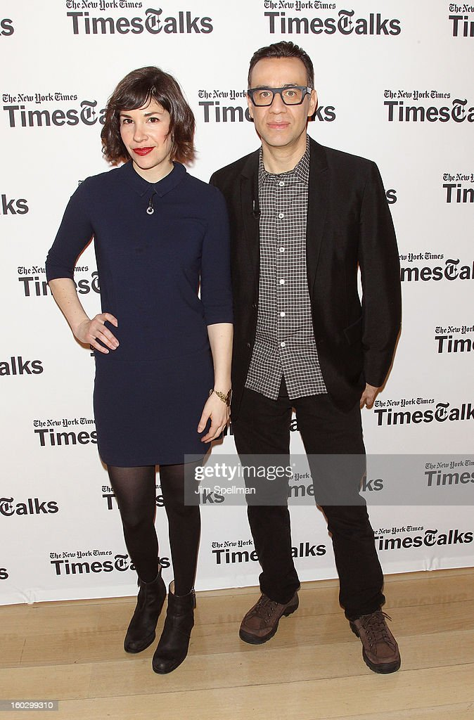 Actors Carrie Brownstein and Fred Armisen attend New York Times TimesTalks Presents: 'Portlandia' at TheTimesCenter on January 28, 2013 in New York City.