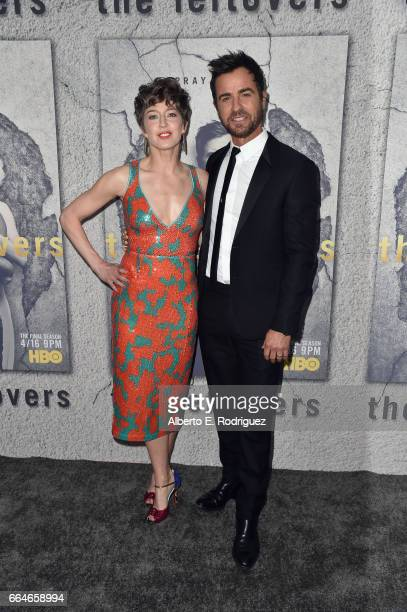 Actors Carrie Coon and Justin Theroux attend the premiere of HBO's The Leftovers Season 3 at Avalon Hollywood on April 4 2017 in Los Angeles...