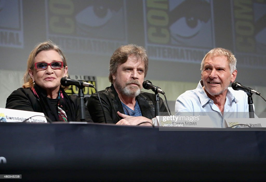 Actors Carrie Fisher, Mark Hamill and Harrison Ford at the Hall H Panel for 'Star Wars: The Force Awakens' during Comic-Con International 2015 at the San Diego Convention Center on July 10, 2015 in San Diego, California.