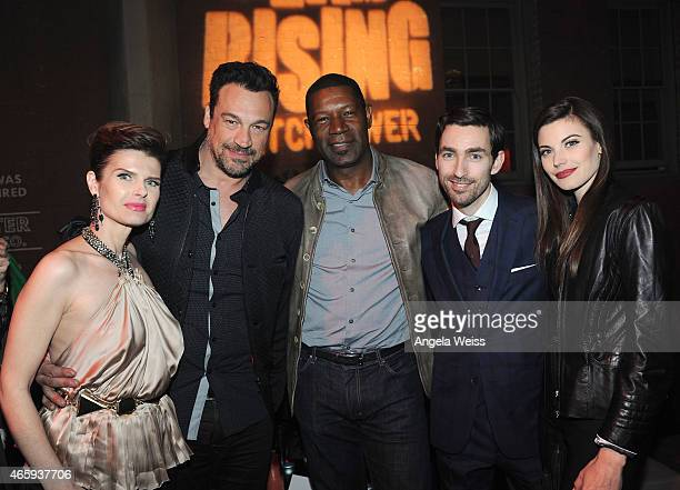 Actors Carrie Genzel Aleks Paunovic Dennis Haysbert director Zach Lipovsky and Meghan Ory attends the premiere of Crackle's Dead Rising Watchtower...