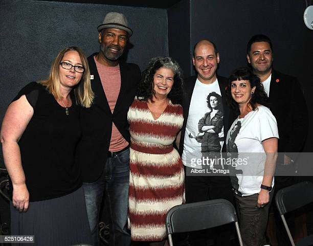 Actors Carrie Henn Ricco Ross and Jenette Goldstein pose with director of Publishing collectibles Josh Izzo and his team at 20th Century Fox after...