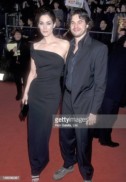 Actors CarrieAnn Moss and Steven Roy attend the Seventh Annual Screen Actors Guild Awads on March 11 2001 at Shrine Exposition Center in Los Angeles...