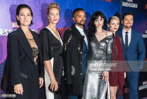 R Actors CarrieAnne Moss Janet McTeer Eka Darville Krysten Ritter Rachael Taylor and J R Ramirez attend Netflix's 'Marvel's Jessica Jones' Season 2...