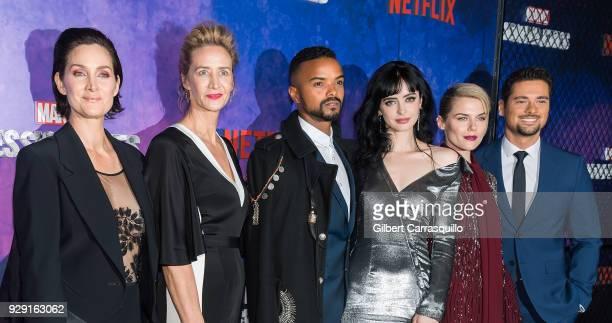 Actors CarrieAnne Moss Janet McTeer Eka Darville Krysten Ritter Rachael Taylor and J R Ramirez attend Netflix's 'Marvel's Jessica Jones' Season 2...