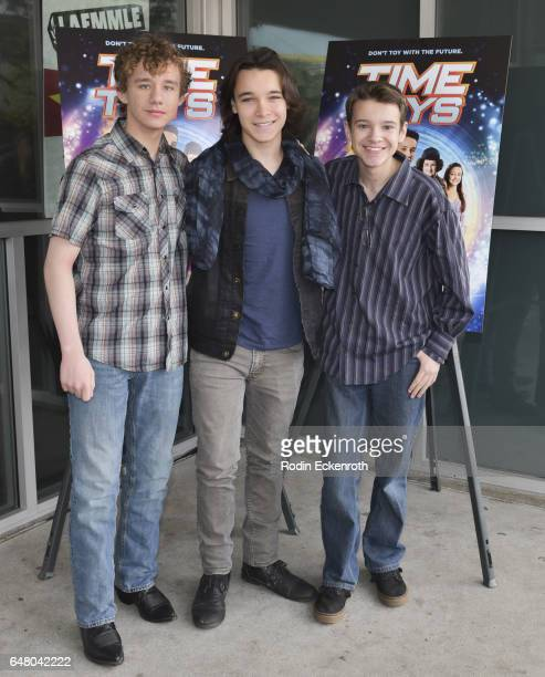 Actors Carsen Warner Dalton Cyr and Davis Desmond attend premiere of 'Time Toys' at Laemmle NoHo 7 on March 4 2017 in North Hollywood California