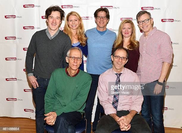 Actors Carson Elrod Kelly Hutchinson Rick Holmes Liv Rooth Arnie Burton playwright David Ives and director John Rando attend 'Lives Of The Saints'...
