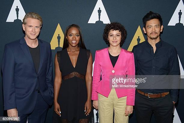 Actors Cary Elwes Aja Naomi King Alia Shawkat and John Cho attend the 2016 Academy Nicholl Fellowships in Screenwriting Awards presentation and live...
