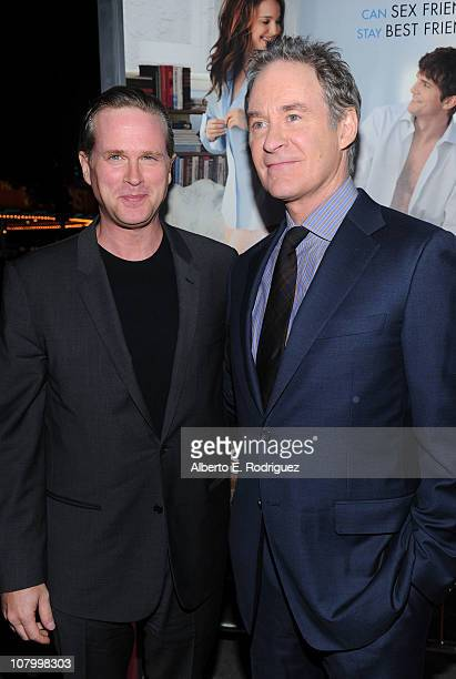 Actors Cary Elwes and Kevin Kline arrive at Paramount Pictures' No Strings Attached premiere at Regency Village Theater on January 11 2011 in...
