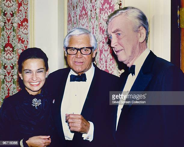 Actors Cary Grant and James Stewart with Grant's wife Barbara Harris circa 1982
