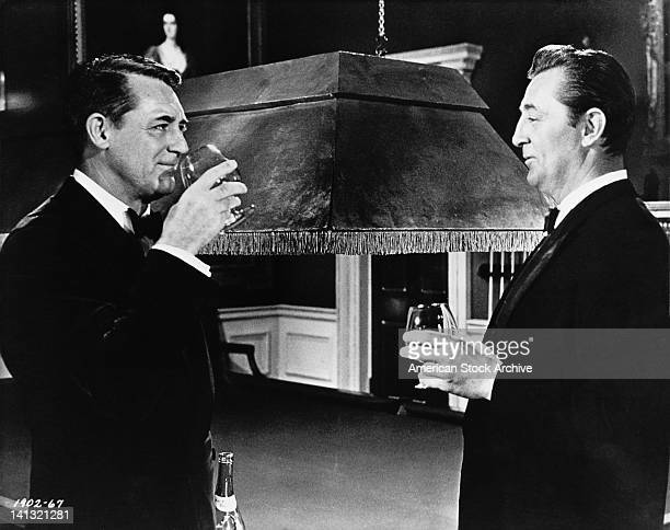 Actors Cary Grant and Robert Mitchum star in the film 'The Grass is Greener' which was filmed on location at Osterley Park mansion in west London 1960